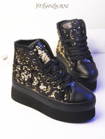 Fashion bling 24 high-top shoes round toe shoes platform shoes lacing shoes casual boots spring