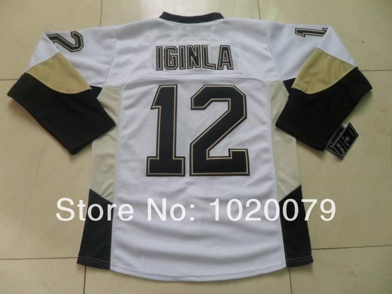 Free shipping,cheap jersey 2014 New hockey jersey Penguins 12 Iginla white jersey(China (Mainland))