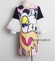 new spring summer wear women's clothing 2014 South Korea abstract painting printing seven sleeve dress female princess dress