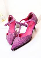16 sweet elegant full of rhinestone toe cap covering sandals t belt fashion bow medium hells shoes women's shoes new arrival