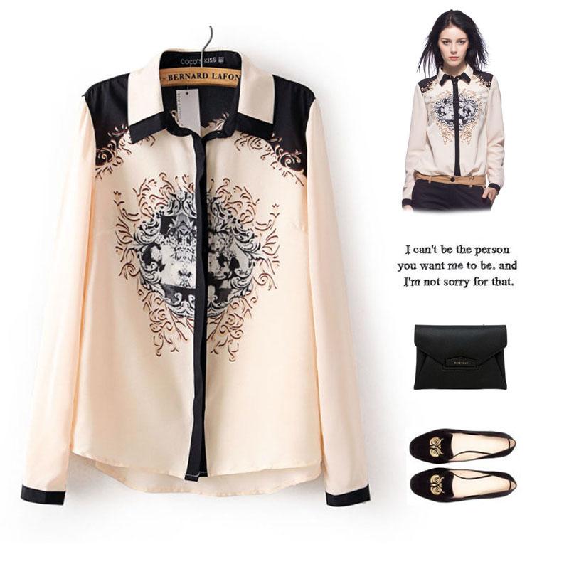 2015 British New Spring All-match Baroque Print Long-sleeve Shirt Women's Long Shirt Orignal Design Lady Clothing Wholesale(China (Mainland))