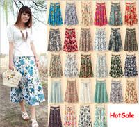 2014 New Bohemian Long Skirt Cotton Print Vintage Skirt Gift Belt skirts womens 14 Styles Hot Sale