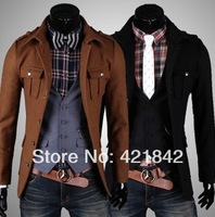 2014 Wholesale price New mens long-sleeved wind coats Grows dust coat wool single-breasted jacket men's clothing