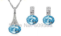 2014 Hot New Arrival Crystal Fashion 18K Gold Plated Water Pendant Bridal Wedding Necklace Earrings Jewelry Set