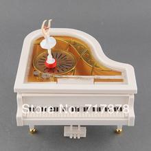 Cute Love White Piano Dancer Ballet Girl Music Musical Box Toy Valentine's Gift Free shipping(China (Mainland))