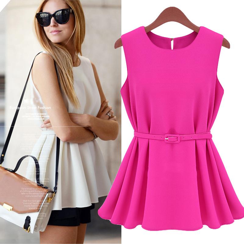 With Belt New 2014 Summer Women Blouse Fashion Chiffon Vest Top Tank Sleeveless Shirt Casual Slim Blouses Plus Size Women Cloth(China (Mainland))