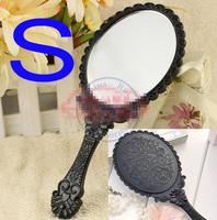 grace portable pocket plastic mirror vintage flower caving hand Cosmetic Make Up Wholesale
