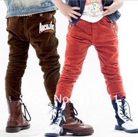 2014 new 1 pc retail brand kid's clothing cotton letter casual AK pants boy's trousers khaki & blue colors 2 year - 7 year old