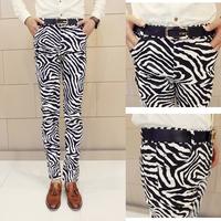 Free shipping new men's British youth fashion casual pencil pants zebra