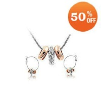 Free Shipping 18K Gold Plated Crystal Fashion Jewelry Set necklace earrings 3 rings design 9T016