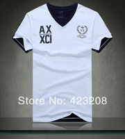 AR *** 2014 new AJ V-neck short-sleeved T-shirt shirt Slim Men T-shirt M-XXL