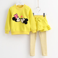 New arrival! Free shipping 5 sets/ lot cartoon Minnie & Mickey spring casual clothing suits for girl, three colors