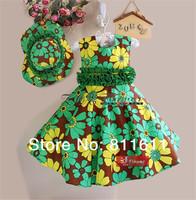 Girl Dress Summer 2014 Cute Flower Girls Clothing Set(Dress+Hat)  Fancy Girls Dresses Printed Elegant Dresses For Girls