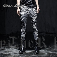 Free shipping men's British hairdresser checkerboard tight pants, casual pants feet