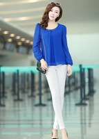promotion high quality women new 2014 spring plus size chiffon shirt  long-sleeve loose solid color top Blouse s-4xl