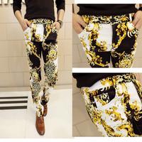 Free shipping! New men's Harajuku Leopard Dark golden hook flower stitching casual pants