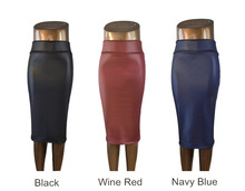plus size high-waisted faux leather pencil skirt below knee S M L XL(China (Mainland))