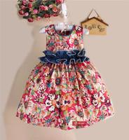 Baby Girl Dress Summer 2014 Cute Printed Elegant Dresses The Cowboy Lace Belt Flower Girl Princess Dress For Kids Clothing
