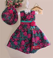 Girl Dress Summer 2014 Rose Flower Girls Clothing Set(Dress+Hat)  Between The Waist Flower Printed Elegant Dresses For Girls