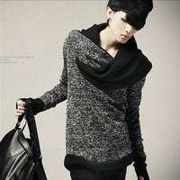 Free shipping men's fashion personality Slim Taper neck sweater