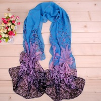 The Windmill Flowers Scarves Lady Soft Wrap Women Shawl Chiffon Muffler Foulard Infinity Loop Scarf  50X160cm