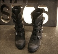 2014 New autumn and winter black ladys flats motorcycle boots thick heel mixed PU leather women shoes size 36-39    8
