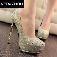 Ladies Market 2014 New Fashion Shiny gold dust Pumps Fine with Waterproof Metal Rhinestone Diamond wedding shoes AA273