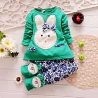 Retail 1 Set New 2014 Hot Spring Fashion girls clothing set cartoon Rabbit girls t-shirt long pants 2pcs baby suit 4 colors