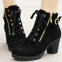 HOT! New 2013 Ladies Fashion Retro Buckle Heels Platform Shoes Lace Up Warm Martin Boots Women Free Shipping