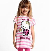 5Pcs/Lot  Baby Girls Cartoon Hello Kitty Suits Chirldren Cotton Clothing Sets 2Pcs Girl's Tshirts+Pants Girls Hello Kitty Sets