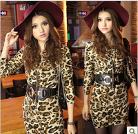 2014 Spring Slim Hip Leopard Print Long-sleeve Dress