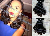 Hot sale 6A quality 3pcs/lot #1b virgin peruvian bouncy curl aunty funmi hair on sale Free shipping 8-28inch mix length