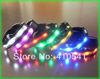 New Arrival Free Shipping LED Dog Nylon Flashing Glow New Pet Light Safety Collar LED Dog Collar LED Light UP Flashing Blue Red
