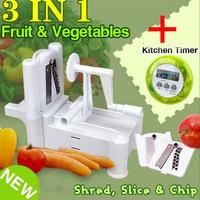 3 in 1 Vegetable Fruit Spiral Slicer Potato Cutter Shredder Food Turner Graters + Mini Digital LCD Kitchen Timer Alarm 2PCS/LOT