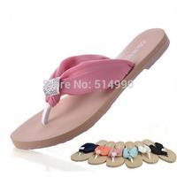 Retail Chiffon with herringbone latest summer drill drag fashion women beach slippers sandals flip Rhinestone Flip Flops SH0021