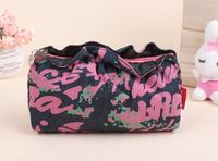 2014 Free shipping new fashion high quality Abstract graffiti ruffles shopping handbag ladies storage cosmetic bags