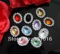 STOCK! Free Shipping 100pcs 17*21mm 10colors Pearl Rhinestone Button Diamante Wedding Embellishment Hair Flower DIY Accessory