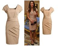 Free Shipping 2014 Fashion Elegant Princess Kate Middleton Dress Women's Knee-Length Wear Party Evening Dress.A47