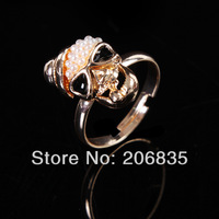 18K Gold Plated Full Pearl Skull Ring Hat Skeleton Rings  Wholesale rings