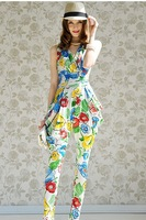novelty new 2014 summer spring ladies women flower print white blue color sexy Jumpsuits & Rompers