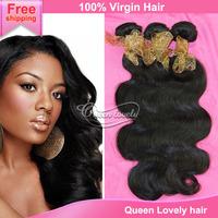queen weave beauty Human hair brazilian virgin hair body wave human hair weave 100% 6a unprocessed virgin hair free shipping
