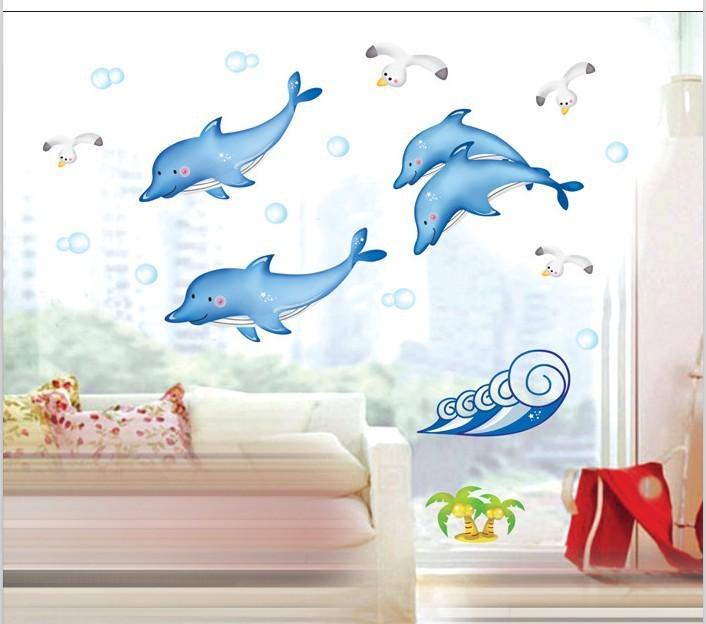 Cortina Baño Winnie Pooh:pescado de mar de vinilo de pared de arte de la pared pegatinas para
