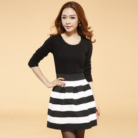 wholesale 6311 2014 women's plus size slim long-sleeve dress