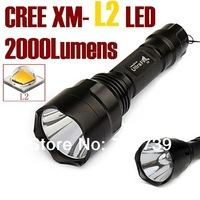 UltraFire C8 NEW CREE XM-L2 LED 2000Lumens cree led torch Spotlight cree LED Flashlight Torch light For 1x18650-Free shipping