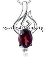 Garnet necklace pendant Free shipping Natural garnet 925 sterling silver plate 18k white gold Wholesale  Fruit style For lady