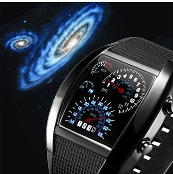 Mens Watches Blue & Black Flash LED Military Watch Brand New Gift Sports Car Meter Dial Watches For Men Worldwide Free Shipping(China (Mainland))