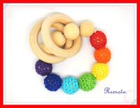 2014 Hot wooden toy Mommy jewelry baby Crochet nursing toy - teething crochet  Neo rainbow colour crochet bead NT038