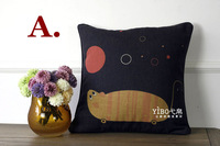 "Wholesale&retail cute cat&mouse vintage resto cushion pillow cover free shipping  45x45cm (17.8""x17.8"") american country style"