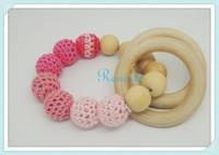 2014NEW sumutra wooden beaded baby Crochet nursing toy - teething bracelet crochet  fade fushia pink red wooden NT034
