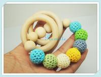 2014 NEW  beaded Mommy jewelry baby Crochet nursing toy - teething bracelet crochet  Spring vivid colour NT036